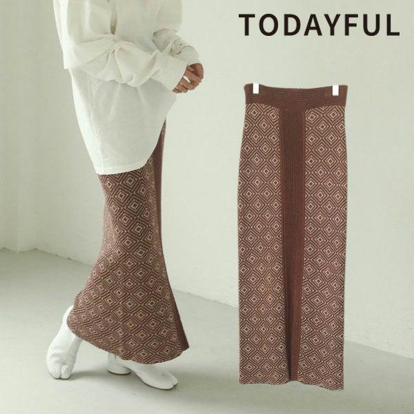 TODAYFUL トゥデイフル ジャガード ペンシル スカート Jacquard Pencil Skirt 12110803