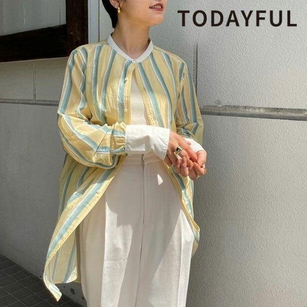 トゥデイフル マルチ ストライプ シャツ Multistripe Silk Shirts 12110403