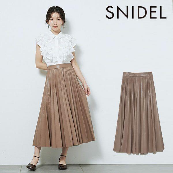 SNIDEL スナイデル レザープリーツスカート swfs214200