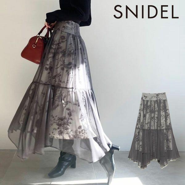 SNIDEL スナイデル シフォンオーバープリントスカート swfs214147