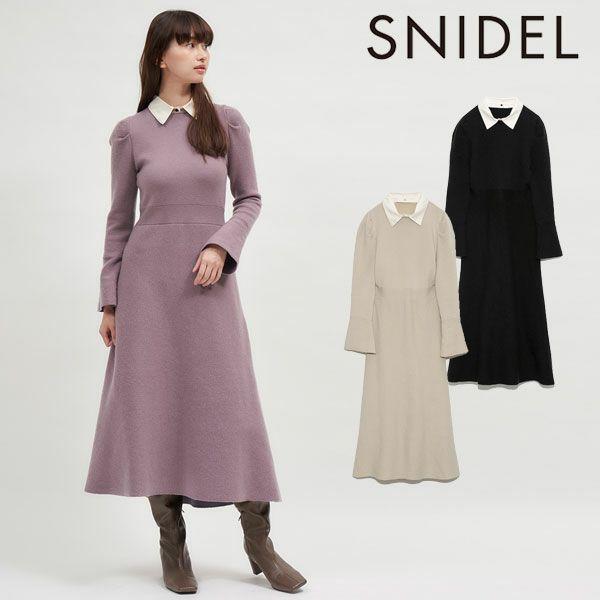 SNIDEL スナイデル ホワイトカラーニットワンピース swno214188